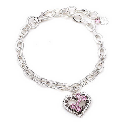 pink bone gray heart dog necklace