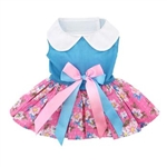 Pink and Blue Plumeria Floral Dog Dress with Matching Leash, casual dog dresses, dog harness dress, Easter dog attire