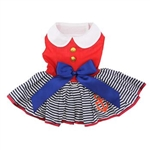 Sailor Girl Dog Dress with Matching Leash, casual dog dresses, dog harness dress, patriotic dog attire