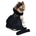 Black Wool with Black Fur Collar Dog Harness Coat, dog coats big dog coats, large dog coats