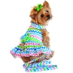 Multi-Colored Wave Designer Dog Dress, BowWowsBest.com,  Dog Dresses, Dog Designer Dress, Dog Clothes, Doggie Design