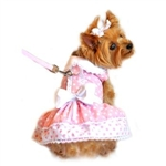 Pink Polka Dot and Lace Dog Dress Set from BowWowsBest.com | Dog Dress, Dog Designer Dress, Dog Clothes, Dog Designer Clothes, Dog Accessories, Dog Couture, Dog Formal Wear