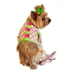 Plaid Dog Harness and Leash - Pink and Green