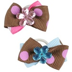 Pinkaholic Hair Bows with Bands - Jeweled polka dot bows in Pink/Brown or Blue/Brown.