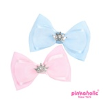 Avery Hair Bow with metalic mesh and faux pearls centers add plenty of frill.