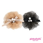 Aria Hair Bow with metalic mesh and faux pearls centers add plenty of frill.