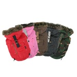 "Extra small to big dog sizes.  Fitting 11"" thru 35"" inch chest.  Camo, Red, Brown & Black"