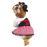 Comes with the matching lady pirates hat with red trim, fully hand washable. Fits Small to Medium Dogs