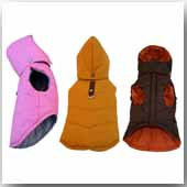 The detachable hood closes under the chin to shut out the cold and completely insulate your dog. Stuffed with faux duck-down, nylon lined, and complete with an