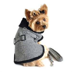 Black and White Houndstooth Dog Harness Coat with matching leash, big dog coats, dog coats, BowWowsBest.com, Doggie Design