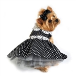 Polka Dot Dog Dress - Black and White, casual dog dresses, dog harness dresses, BowWowsbest.com, Doggie Design