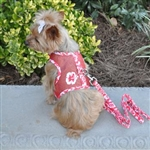 Hawaiian Hibiscus Red Cool Mesh Dog Harness