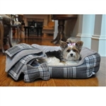 Gray Plaid Flannel Dog Bed, dog beds, small dog beds, dog donut beds