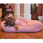 Ultra Soft Pink Faux Fur Plush Dog Bed, dog beds, small dog beds, dog donut beds