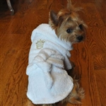 White Gold Crown Dog Bathrobe
