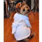 White Silver Tiara Dog Bathrobe