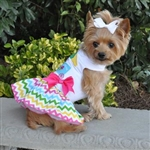 Ice Cream Cart Dog Dress With Matching Leash, casual dog dresses, dog harness dress