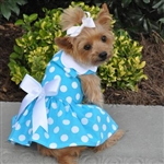 Blue Polka Dot Dog Dress with Matching Leash, casual dog dresses, dog harness dress
