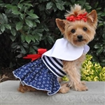 Nautical Dog Dress with Matching Leash, casual dog dresses, dog harness dress