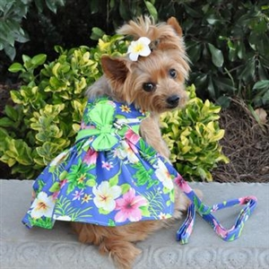 Blue Lagoon Hawaiian Hibiscus Dog Dress With Matching Leash, casual dog dresses, dog harness dress