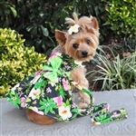 Twilight Black Hawaiian Hibiscus Dog Dress With Matching Leash, casual dog dresses, dog harness dress