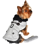 Gray Herringbone Dog Coat, large dog coats, winter dog attire