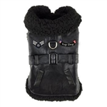 Black Top Dog Flight Coat with Matching Leash, big dog coats, dog coats, BowWowsBest.com, Doggie Design