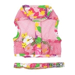 Cool Mesh Dog Harness - Pink Hawaiian Floral, mesh dog harnesses, BowWowsbest.com, Doggie Design