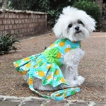 Pineapple Luau Dog Harness Dress with matching leash, casual dog dresses, dog harness dresses, BowWowsbest.com, Doggie Design
