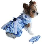 Blue Rose Harness Dress with Matching Leash, casual dog dresses, dog harness dresses, BowWowsbest.com, Doggie Design