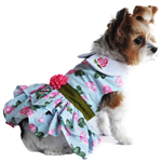 Pink Rose Harness Dress with Matching Leash, casual dog dresses, dog harness dresses, BowWowsbest.com, Doggie Design