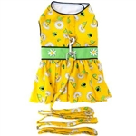 Ladybugs and Daisies Dog Dress with Matching Leash, casual dog dresses, dog harness dresses, BowWowsbest.com, Doggie Design