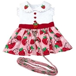 Strawberry Picnic Dog Dress with Matching Leash, casual dog dresses, dog harness dresses, BowWowsbest.com, Doggie Design