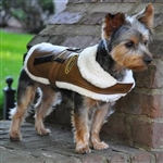 Brown and Black Faux Leather Bomber Dog Coat Harness with matching leash from BowWowsBest.com |Plaid Dog Coat, Minky Dog Coat