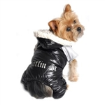 Ruffin It Black and Grey Dog Snow Suit from BowWowsBest.com |Extra warm dog snow suit waterproof