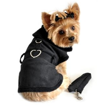 Black Suede Fur Lined Dog Coat Harness With Rhinestone