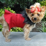 Red Wool Fur-Trimmed Dog Harness Coat, dog coats big dog coats, large dog coats