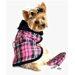 Pink Plaid Classic Dog Coat Harness with matching leash from BowWowsBest.com |Plaid Dog Coat, Minky Dog Coat