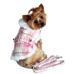 Pink and White Plaid Dog Coat. dog coats, big dog coats, large dog coats