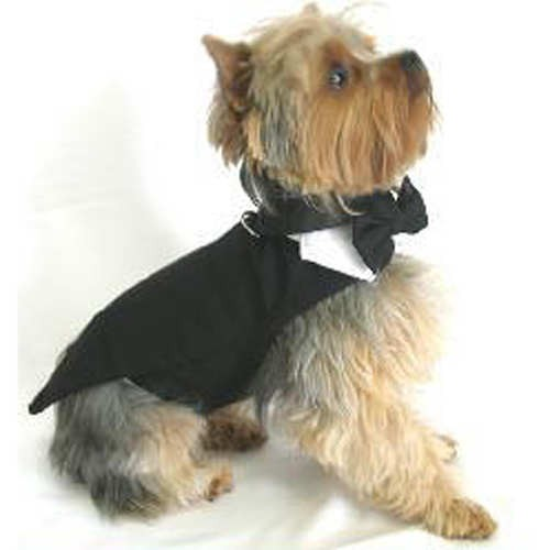 Dog Black Tuxedos with Tails and Top Hat