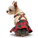 Holiday Plaid Dog Dress, winter clothing for dogs, dog clothes, dog dresses, casual dog dresses, bowwowsbest.com