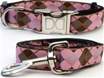 Argyle Dog Collars and leash, ribbon dog collars