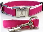 Preppy in Pink Dog Collars and leash, ribbon dog collars, big dog collars