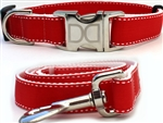 Preppy in Red Dog Collars and leash, ribbon dog collars, big dog collars