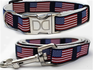 Stars and Stripes Dog Collars and leash, ribbon dog collars, big dog collars