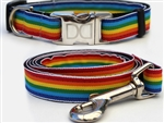 Rainbow Dog Collars and leash, ribbon dog collars, big dog collars