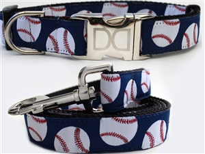 Baseball Dog Collars and leash, ribbon dog collars