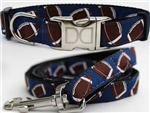 Football Dog Collars and leash, ribbon dog collars, big dog collars
