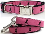 Breast Cancer Awareness Dog Collars and leash, ribbon dog collars, big dog collars