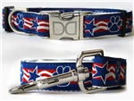 Stars and Paws Dog Collars and leash, ribbon dog collars, big dog collars